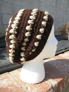 Knots by Ashley: Free Puff Striped Slouch Hat Pattern
