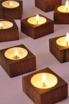 Reclaimed Walnut Wood Tea Candle Votive Holder