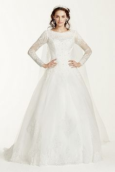 David's Bridal Jewel Collection | Long-sleeve, tulle ball gown (also available in petite)
