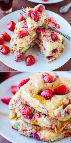 Birthday pancakes for the kids? Strawberry and Sprinkles Buttermilk Pancakes - Fluffy pancakes with strawberries & sprinkles cooked right in! A fun twist on classic buttermilk pancakes that's a hit with kids & perfect for Valentine's Day! Breakfast Desayunos, Breakfast Recipes, Dessert Recipes, Mexican Breakfast, Pancake Recipes, Crepe Recipes, Waffle Recipes, Buttermilk Pancakes Fluffy, Pancakes And Waffles