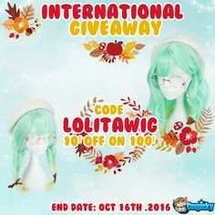 Weekly giveaway of Lolita Green Wig,how do you love this prize ?  1. Follow @cospicky 2. Like and Repin this pic  3. Finish above and enter here: https://goo.gl/QahxO0 4.Ends on Oct 16th .2016