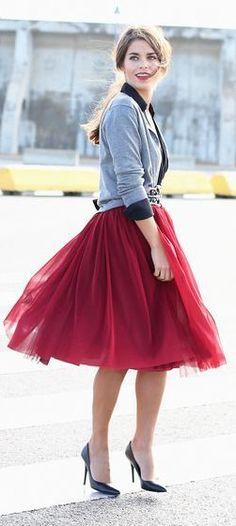 nice Jupon en tulle : Burgundy Tulle Skirt