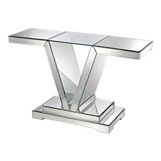 Dimond Home Mirrored Console Table With Clear Glass Top.