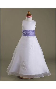 A-line Scoop Floor-length Satin Organza Flower Girl Dress