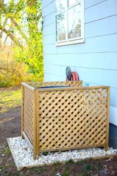 A/C Cover DIY - use left over lattice? :) Also add the ground frame and gravel!