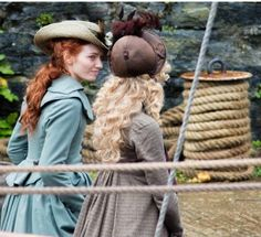More great shots from Charlestown…. Demelza & Caroline- Season 4 Poldark  Filming 16/9/17