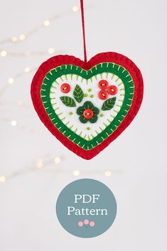 Felt Ornaments Patterns, Holiday Crafts, Holiday Decor, Christmas Hearts, Heart Template, Christmas Decorations, Christmas Ornaments, Pdf Sewing Patterns, Felt Crafts