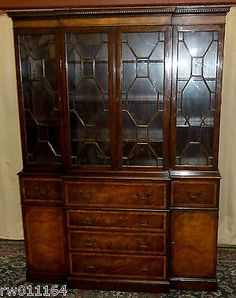 English Chinese Chippendale cabinet/case-piece breakfront mahogany ...