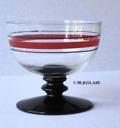 Fostoria Glass Sherbet - Ebony Black Disk Stem, Clear Bowl, No. 51 Line Deco #Fostoria