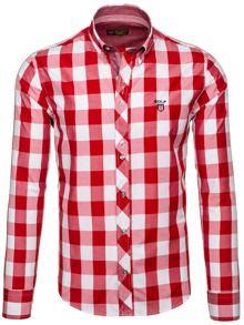 Czerwona koszula męska w kratę z długim rękawem Bolf 6888