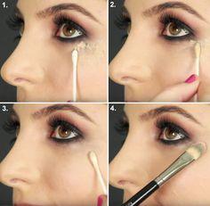 Livre-se de borrões na sombra sem estragar a maquiagem usando corretivo e um cotonete. | 7 truques de maquiagem ridiculamente fáceis que irão facilitar sua vida