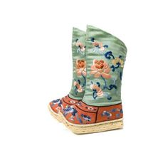 Children's Boots  Date: 1644-1912  Culture: Manchu  Made At: Asia, China  Medium: Silk and leather  Dimensions: 10 3/4 x 2 1/2 x 6 1/2 in. (27.3 x 6.4 x 16.5 cm)