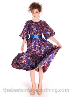 Vintage Yves St Laurent Riva Gauche Silk Dress Purple Abstract L