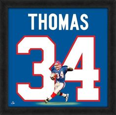 Thurman Thomas, Bills UniFrame Framed photographic representation of the player's jersey Football Memorabilia, Football Jerseys, Football Players, Framed Jersey, Nfl Gear, Buffalo Bills, Pittsburgh Steelers, American Football, Notre Dame