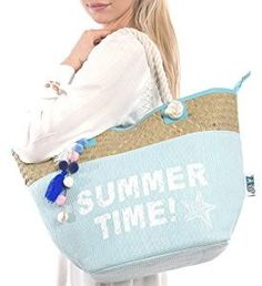 58e6faa7e Summer Beach Bag by Pier 17 (Extra Large) Portable, Oversized Canvas Tote  w/ Cute, Handwoven Seagrass