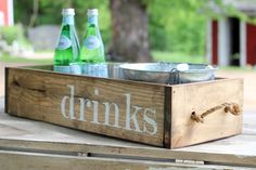 Wood Crate drink tray