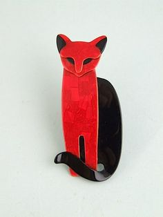 Quarrelsome Cat Brooch  Large Black and red Quarrelsome cat by Lea Stein,