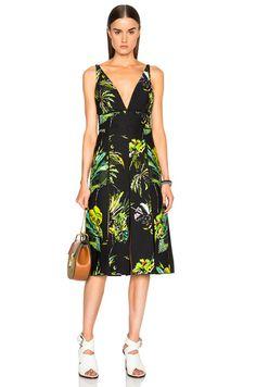Printed Satin V Neck Long Dress with Slits