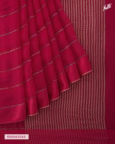 This maroon mysore chiffon saree decorated with intricate stonework on the body and accentuated with satin border looks marvelous. Cotton Saree Blouse Designs, Wedding Saree Blouse Designs, Half Saree Lehenga, Saree Look, Bottle Green Saree, Chiffon Saree Party Wear, Maroon Saree, Saree Hairstyles, Indian Bridal Outfits