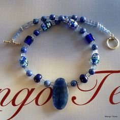 Blue on Blue Necklace  Blue Cherry Quartz Pendant by MangoTease