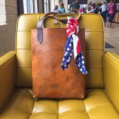 "Handmade ""Carrie B"" leather tote bag @ madesupplyco.com #leathertotebag #handmadeleathergoods"