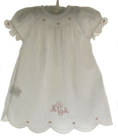 Infant Girls White Smocked Daygown - Rosalina
