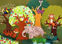 Forest Collage using various types of textures and colors of paper (printable templates for the trees, and jungle, rainforest and safari animals)
