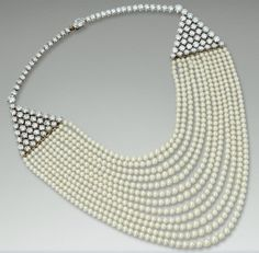 Pearl And Diamond Necklace By Cartier   c.1953