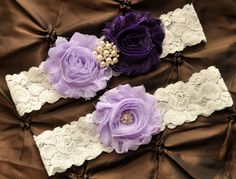 Wedding Garter, Bridal Garter Set - White Lace Garter, Keepsake Garter, Toss Garter Included, Shabby Chiffon Lavender Purple Wedding Garter on Etsy, $22.00