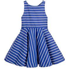 Polo Ralph Lauren - Girls Blue & White Striped Cotton Dress | Childrensalon
