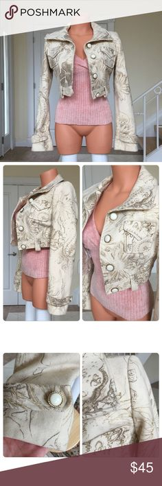 """BEBE Jacket Worn once. Like new, excellent condition.  Cream with brown & gold swirled pattern. Thick. Shell 80% Wool, 20% nylon. Lining (silk-like) 80% laine, 20% nylon. Length top shoulder , neck to bottom 15 1/2'. Arm inseam 17'. If interested in pink Bebe top (shown) I will add in for 5 dollars. Very soft, excellent condition, XS, 3/4 sleeves. No Trades/PayPal. Reasonable negotiations using the """"offer"""" button. 💗 bebe Jackets & Coats"""