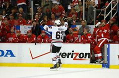 Frolik celebrating his penalty shot goal. Joe Louis Arena, Penalty Shot, Black N Red, Stanley Cup Playoffs, Western Conference, World Of Sports, Sports Stars, Detroit Red Wings