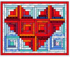 log cabin quilt patterns | ... Heart Wall quilt - made with 12 log cabin blocks - free quilt pattern