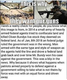 Here's a reality check for peopÍe, do you knew what this Image is from, In 2014 a small army of heavily armed federal agents tried to confiscate land and killed Cliven Bundys live stock they deemed on federal land. As of Jan, 2018 an federal judge ruled Truth Hurts, It Hurts, Calling All Angels, By Any Means Necessary, Political Quotes, Gun Rights, Conservative Politics, Do You Know What, Reality Check