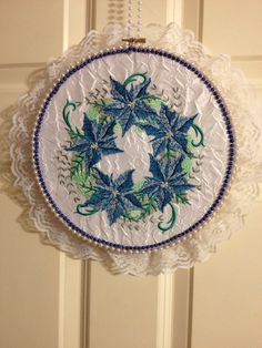 Silver and blue poinsettias   by leahssewingcreations. Explore more products on http://leahssewingcreations.etsy.com