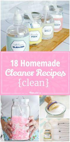 18 Homemade Cleaner Recipes {clean} via @tipjunkie