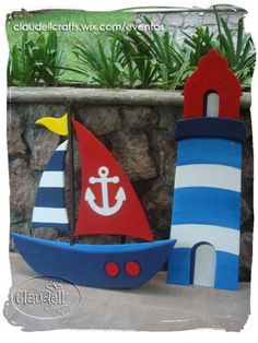 Barco y faro Sailor Birthday, Sailor Party, One Year Birthday, 1st Boy Birthday, Happy Birthday Jesus, Nautical Party, Baby Boy Shower, Baby Shower Decorations, Diy And Crafts