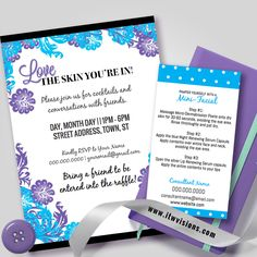 Customize your own invitations and mini facial cards....review online, order online. Order digital file or prints. I love these colors together and this combinations has been very popular! Kindly visit itwvisions.com to shop... Contact Tammy@itwvisions.com to talk about custom orders! Rodan and fields consultants love these cards and they help to promote their business.