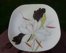 """Red Wing Pottery, Lotus Pattern, Square Dinner Plate  10 1/2"""", Circa 1940s"""