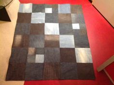 Patchwork picknick blanket made of 5 pairs of jeans. Squares 25x 25 cm. Small squares 13.5x 13.5 cms