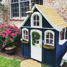 We invite you to pay attention to these suggestions, pin the toddler garden playhouse ideas you like best and start planning the surprise you know your child will most likely love and make use of for a long time. Costco Playhouse, Toddler Playhouse, Backyard Playhouse, Build A Playhouse, Playhouse Outdoor, Playhouse Ideas, Outdoor Sheds, Painted Playhouse, Kids Wooden Playhouse