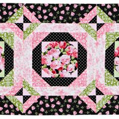 Incorporate the look of fresh flowers year-round with this sweet table runner. Romantic florals and light greens and pinks stand out against black prints. Fabrics are from the Friendship Tea collection by Sandy Lynam Clough for Red Rooster Fabrics.
