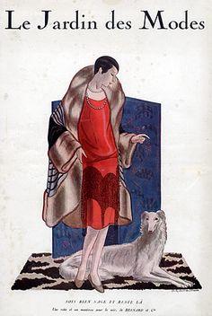 Bernard & Cie 1926 Fashion Illustration, Sighthound, Greyhound, Montbrun
