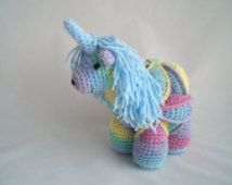 Crochet Amamani / Amigurami Magical Unicorn puzzle ball soft toy.