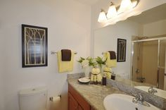 Main updated bathroom with a shower over the tub