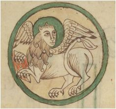 Mark and lion melded into one.Les quatre évangiles BnF NAL 305 http://gallica.bnf.fr/ark:/12148/btv1b8427445r/f101.item