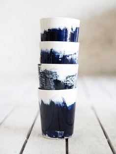 4 cups in white and blue. #tassen #weiß #blau