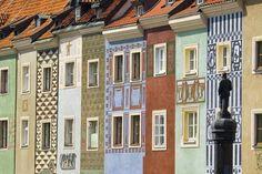 Poznan, Poland, przepiękne kolorowe kamieniczki