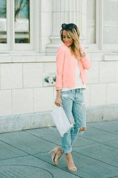 Cut off jeans,white top,pink blazer,white clutch and nude pumps.pretty outfit