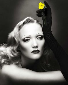 black & yellow One Color, Color Pop, Colour Splash, Marlene Dietrich, Black N White, Black White Photos, Shades Of Yellow, Splash Photography, Black And White Photography